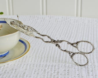 Dainty cookie and pastry tongs, vintage Swedish sterling silver, 1951 , fifties server
