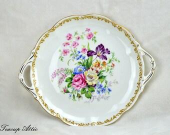 Royal Albert Nosegay Cake Plate, English Bone China Cookie Plate, Dessert Plate, Tea Party, ca 1940