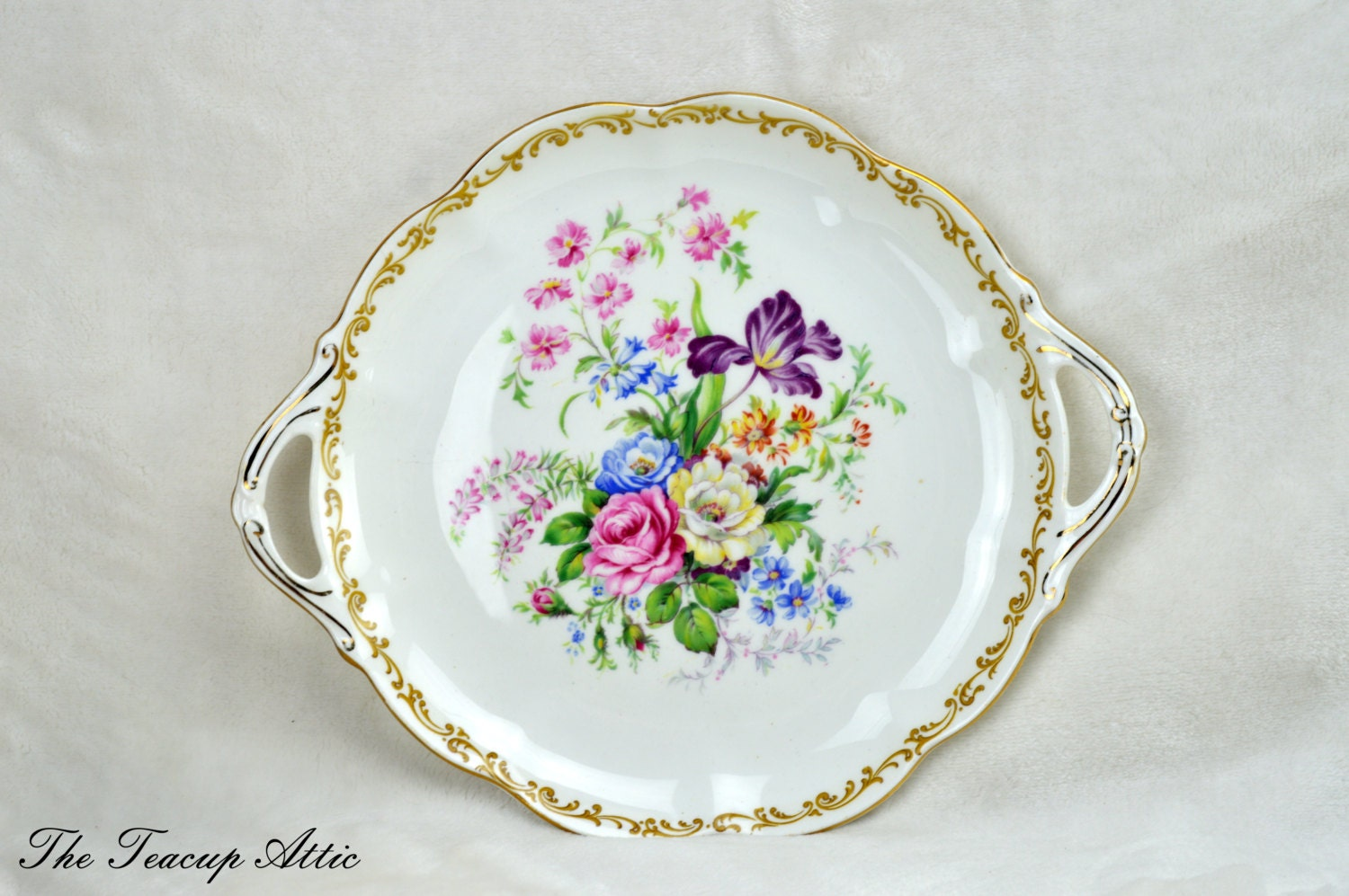 Royal Albert Nosegay Cake Plate, English Bone China Cookie Plate, Dessert Plate, Tea Party, ca 1940