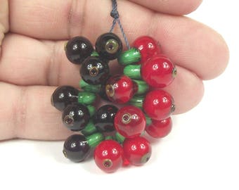 Lampwork fruit beads, redcurrant and blackcurrant beads. SRA