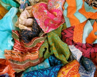 mixed silk remnants silk fabric scraps