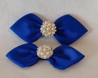 Rhinestone Hairbow/Grosgrain Ribbon/Baby Hairbows/Girls Hairbows/