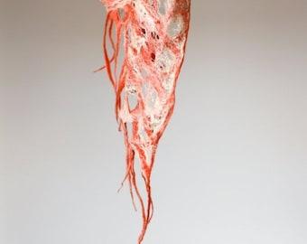 Women felted scarf cobweb felt wool silk shawl - peach coral white - autumn fall scarf - made to order