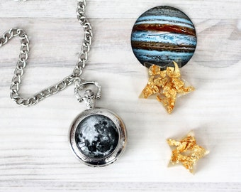 Full moon - Vintage pocket watch necklace - Space jewelry - Galaxy, Astronomy