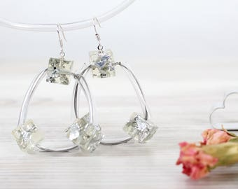 Earrings With Silver Flakes - Geometric jewelry - Clear earrings