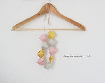 pink gold silver 3D heart garland || origami heart banner || heart bunting || nursery decor -DIY: you space the hearts