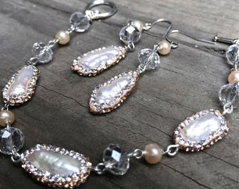 Freshwater Pearl & Crystal Bridal Set