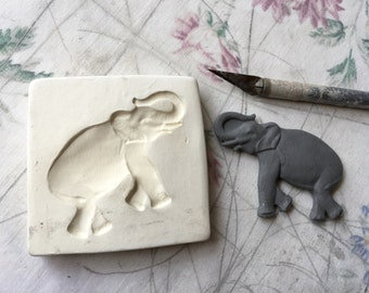 Clay Stamp Elephant Pottery Press Mold Relief Mold or Sprig Mold Bisque Clay Stamp for Ceramic Decoration and Texture