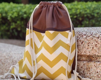Drawstring backpack/ Cotton backpack/ Drawstring bag/ handmade backpack/ Gym bag/ Swim bag - with a Front Pocket ~ Mustard chevron (B100)