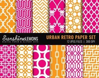 Urban Retro Digital Scrapbooking Paper Set (12) - COMMERCIAL USE Read Terms Below