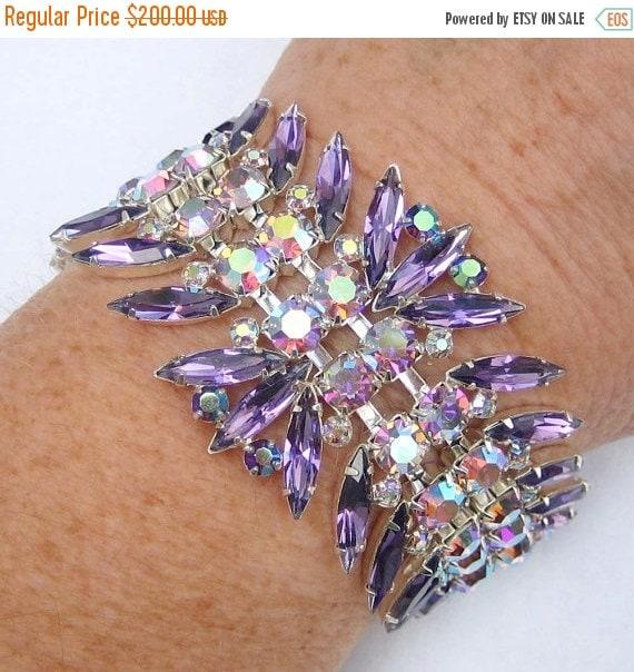 20% OFF SALE - Cardinal and Light Amethyst Aurora Borealis Navette Rhinestone Bracelet - Vintage Inspired