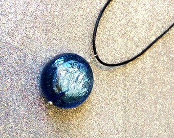 Blue Foiled Acrylic Disc on Black Leather Pendant Fashion Trend Necklace-Ladies Handmade Jewellery-Gifts For Women-Gifts For Her