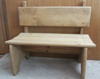 Wooden Bench for Children or Dolls Sturdy Handmade Vintage Childs Bench