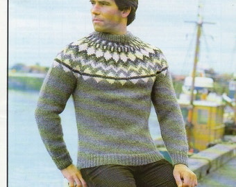 "Vintage Knitting Pattern Hayfield 1948 34-44"" Man's Sweater in Chunky Fair-Isle"