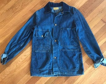 Vintage Selvedge Denim Chore Coat Jacket, Carters Men's S/M Women's M/L