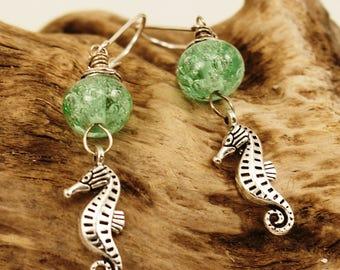 Ocean Bubbles--Seafoam Green Bubble Lampowrk and Seahorse Earrings   681