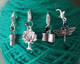 Gilmore Girls Theme Knitting/Crochet Stitch Markers-Set 4-Progress Keeper/Zipper Pull-Purse/Bracelet Charm*Dragonfly*Coffee*Tree*Book