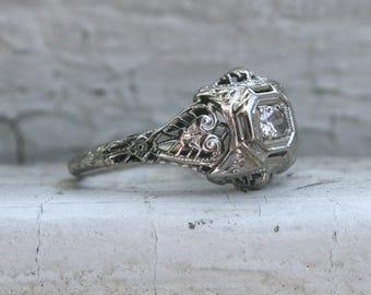 Vintage Filigree 18K White Gold Diamond Engagement Ring - 0.12ct.