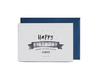 Birthday Banner Illustrated Greeting Card