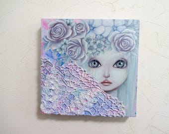 "reserved Original Small mixedmedia Painting ""Flower fairy #1"" Girl"