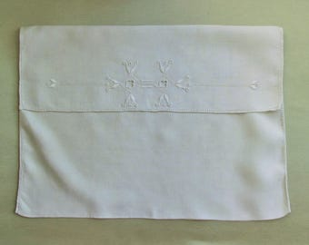 Vintage pajama or lingerie pouch, embroidered linen pouch, envelope style pouch could also be used as a pillow cover