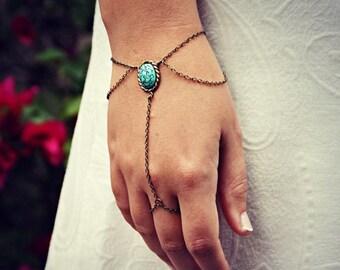 HOLIDAY SALE turquoise drape slave bracelet, bracelet ring, ring bracelet, boho bracelet, hipster bracelet, slave ring