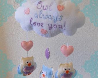 Owl Always Love You Sweet Dreams Felt Owl Mobile- Owl Wall Hanging