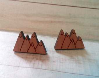 Wooden Mountain Stud Earrings. Mountain Peaks. Nickel Free. Outdoorsy. Rocky Mountains. Jewelry. Wood Studs. Mountaingirl. Teen Girl. Gift