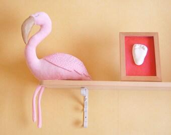 Pink flamingo toy, stuffed flamingo personalized, nursery decor, stuffed toy, toddler plush flamingo, doll bird, baby girl plushie