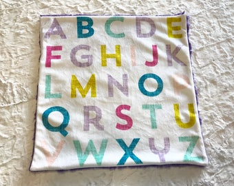 Alphabet Baby Girl Blanket, Purple and Pink Minky Baby Blanket, Ready to Ship Baby Blanket, Baby Shower Gift