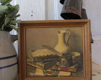 Vintage still life print small size with books, painting supplies ink pot water can