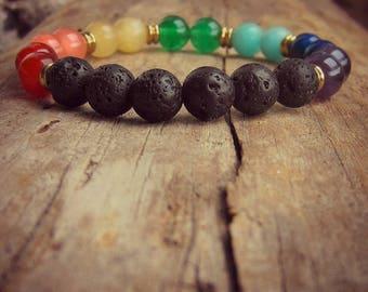 Chakra Diffuser Bracelet • Chakra Jewelry • Lava Rock • Spiritual Bracelet • 7 Chakra Bracelet • Essential Oil Bracelet • Healing Bracelet