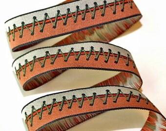 "Ribbon - 5/8"" Zig Zag Stitch in Rust, Olive and Tan"