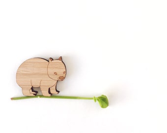 Wombat brooch - laser cut jewellery - wooden wombat brooch -  wombat jewelry