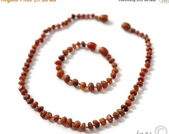 15% OFF Raw Unpolished Genuine Amber Teething Necklace and Bracelet/Anklet, Baltic Amber Baby Set