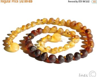15% OFF Raw Unpolished Baltic Amber Baby Teething Necklace Rounded Rainbow Color Beads