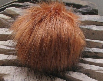 Spare Vegan Faux Fur Pom Pom , Handmade, Perfect Knitted Accessories Burnt Orange -