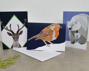 Set of 3 Geometric Animal Print Christmas Cards