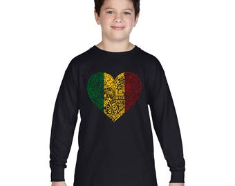 Boy's Long Sleeve T-shirt - Created using the words One Love Heart