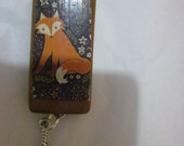 Woodland Fox Decoupage Bamboo Tile Necklace