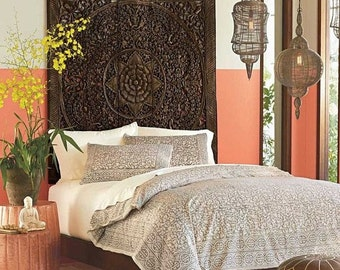 "Rare Queen Bed Headboard 60"" 5ft Sculpture Lotus Flower Wooden Hand Craved Carving Teak Wood Art Panel Panels Wash Wall Home Decor Thai"