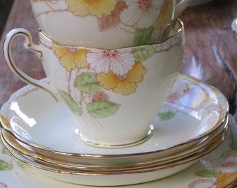 Grafton 'Dawlish' vintage china tea cup trio