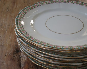 Set of 8 E hughes & Co vintage china tea plates