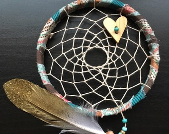 sale - Mini Dream Catcher - turquoise pink and brown - dreamcatcher - ornament - wingedwhimy