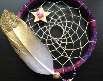 sale - Mini Dream Catcher - purple and pink - white and gold glitter feather - dreamcatcher - wingedwhimsy