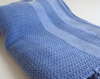 Turkish Towel Peshtemal towel soft Cotton Stone washed thick Aegean towel in blue with blue stripes