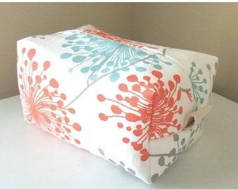 HURRY PRESIDENTS DAY Sale Coral Dandelion Cosmetic Bag - Large Makeup Bag - Waterproof Makeup Bag - Bridesmaid Gift- Bridesmaid Bag