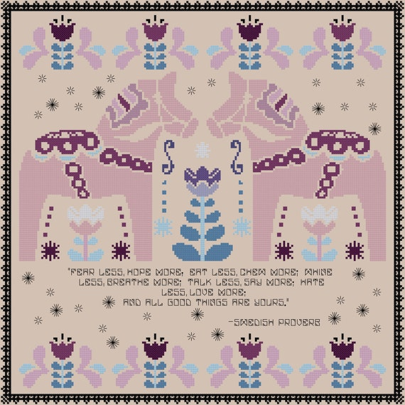 Folk Art Cross Stitch Pattern - Scandinavian Cross Stitch ...
