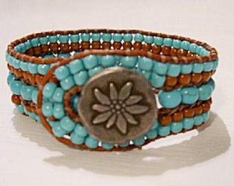5 Row Beaded Cuff Bracelet, Boho Leather Wrap, Beaded Leather Cuff, Beaded Wrap Bracelet - 902