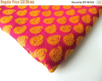 ON SALE Fuchsia pink yellow paisley flame on fuchsia India silk fabric nr 187 fat quarter